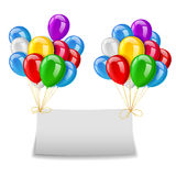 Flying balloons with paper and place for text blue background Royalty Free Stock Photography