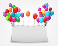 Flying balloons with paper and place for text Stock Photo