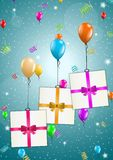 Flying balloons with presents Stock Images