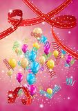 Flying balloons on red background. Flying balloon and confetti on festive red background Stock Photo