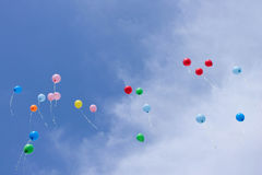 Flying balloons in the sky.  Stock Images