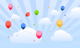 Flying balloons in the sky for kids. Vector illustration as background for greetings and party invitation cards with colored balloons and confetti flying over Stock Images