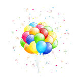 Flying balloons and tinsel Stock Images