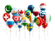 Flying balloons of various countries. 3D illustration.  Royalty Free Stock Image