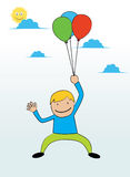 Flying with baloons. A young man use colorful balloons to fly to the sky Royalty Free Stock Image