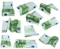Flying banknote 100 one hundred euro isolated. On white background, with clipping path Royalty Free Stock Photography