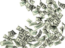 Flying banknotes of dollars Stock Image