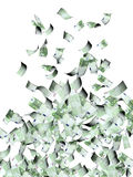 Flying banknotes of euro. Flying banknotes of hundred euro.  on white background. 3d render Stock Photos