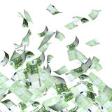 Flying banknotes of euros. Flying banknotes of hundred euros.  on white background. 3d render Stock Photo