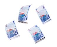 Flying 20 banknotes of euros Stock Photos
