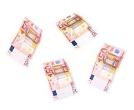 Flying 50 banknotes of euros Royalty Free Stock Photo