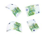 Flying 100 banknotes of euros Stock Photos