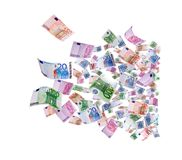 Flying 500 banknotes of euros. Isolated on white Royalty Free Stock Photo