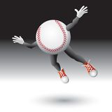 Flying baseball character. Picture of a baseball cartoon character flying Royalty Free Stock Photography