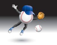 Flying baseball character with hat. Cartoon character of a baseball flying with a hat on Royalty Free Stock Photos