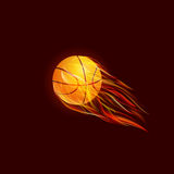 Flying Basketball Ball in Flame. On Dark Red Background. Illustration Royalty Free Stock Images