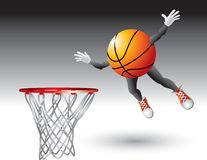 Flying basketball cartoon character Stock Photo