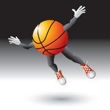 Flying basketball cartoon charcter Royalty Free Stock Photo