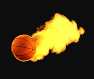 Flying basketball on fire Stock Photography