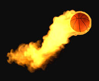 Flying basketball on fire Stock Photos