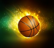 Flying basketball on fire. Illustration on black background vector Royalty Free Stock Photo