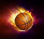 Flying basketball on fire. Illustration on black background vector Royalty Free Stock Photography