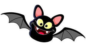 Flying bat. Illustration of a smiling bat flying Royalty Free Stock Photos