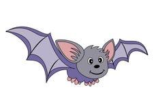 Flying bat. Cartoon illustration of a smiling bat flying isolated on white background Stock Images