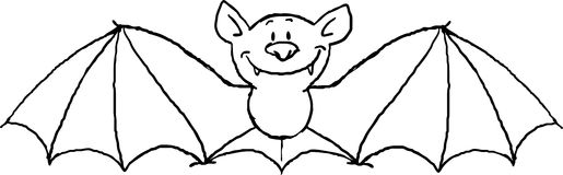 Flying bat cartoon isolated on white - black and white vector Royalty Free Stock Photos