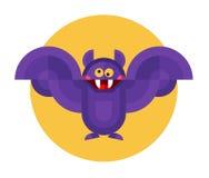 Flying bat icon. Cute geometric halloween vampire flying bat. Vector flat design stock illustration Royalty Free Stock Images
