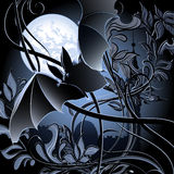 Flying bat. Illustration with flying bat against bushes in moon light drawn in cartoon style royalty free illustration