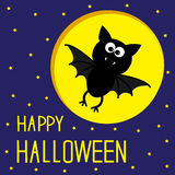 Flying bat. Starry sky and moon. Happy Halloween c Stock Photo