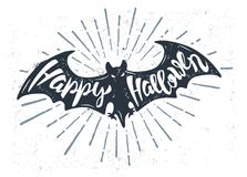 Flying bat with text. Happy halloween. Vector illustration Stock Photo