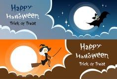 Flying Bat Vampire Halloween Banner Midnight Mood Stock Image