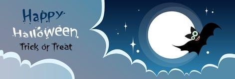 Flying Bat Vampire Halloween Banner Midnight Mood Royalty Free Stock Photography