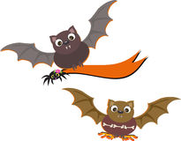 Flying Bats with Banner and Bones Stock Photo