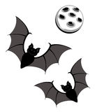 Flying bats with moon Royalty Free Stock Photography