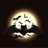 Flying Bats in Shining Full Moon Night, Vector Illustration Royalty Free Stock Image