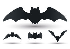 Flying Bats Silhouettes Set, Vector Illustration  Stock Photo