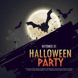 Flying bats spooky hallowen background Stock Photo