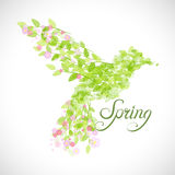 Flying beautiful bird with flowers and green leaves. Colibri icon. Flying beautiful bird with flowers and green leaves. Vector illustration Stock Photo