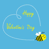 Flying bee. Big dash heart in the sky. Happy Valen Stock Photos