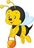 Flying Bee cartoon holding honey bucket Stock Photo
