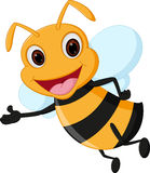 Flying bee cartoon presenting Royalty Free Stock Photography