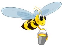 Flying bee character with bucket honey. Character bee with a bucket. Flies to collect honey. Isolated on white background. EPS10 vector illustration vector illustration