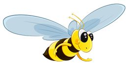 Flying bee character vector stock illustration