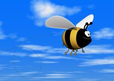 Flying Bee with clipping path Stock Image
