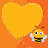 Flying bee and heart shape. Vector illustration Royalty Free Stock Photography