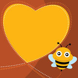 Flying bee and heart shape. Vector illustration Stock Photos