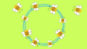 Flying Bees circle animation loopable stock video